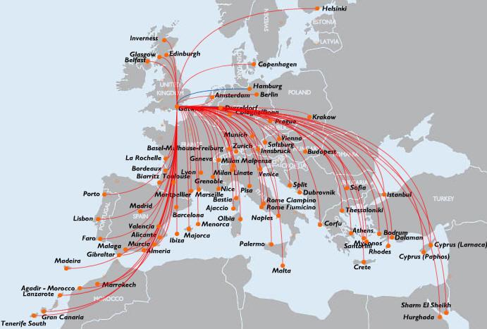 mapa de rotas easyjet Aviação Comercial.   Companhias Aéreas mapa de rotas easyjet